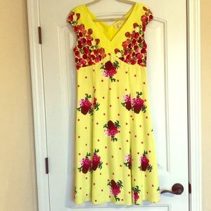 Marc Jacobs Yellow and Pink Floral Midi Dress